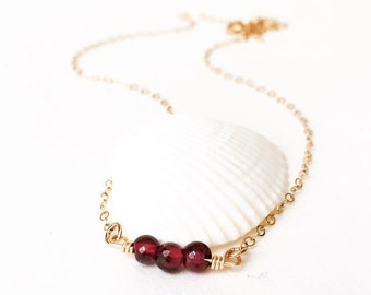Garnet Choker Tiny Garnet Necklace January Birthstone Necklace Dainty Gem Necklace Thin Chain Choker Layering Necklace Mother's Day Gift