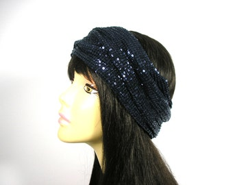 Navy Blue Sequined Headwraps Flapper Head Wrap Navy Blue 20's Headband Retro Sequined Headscarves  Blue Sequin Headbands Retro Head Wraps