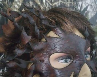 Leather spiral bark grain mask/halloween mask