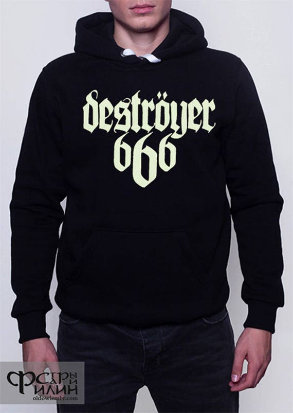 Hoodie embroidery Destroyer 666 logo black metal band