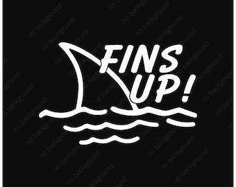 Fins Up! Parrot Head, Jimmy Buffett, Vinyl Decal Sticker. Music, Margaritaville, Paradise, Music, Parakeet, Car, Truck, Laptop, Case