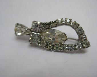 Rhinestone Clear Pin Brooch Silver Vintage
