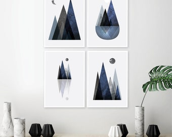 downloadable prints, printable art, mountain prints, wall art, scandinavian mountain print, set of 4 prints, set mountain, navy blue, blue