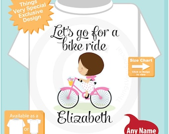 Girl's Shirt, Let's go for a bike ride with girl on bicycle, Personalized with Name (08032015h)