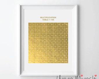 Multiplication Table Gold Foil Print, Gold Print, Custom Print in Gold, Art Print, Math Multiplication Table Gold Foil Art Print, Math Print