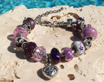 Purple charm bracelet, purple bracelet, purple rhinestone and crystal charm bracelet