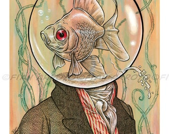 POP SURREAL, Victorian, Goldfish head, lowbrow, Archival Fine Art PRINT-Swimming In This Masquerade-Signed, Titled by Fian Arroyo-Unframed
