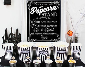 Haunted Popcorn Stand Party Poster - INSTANT DOWNLOAD - Printable Halloween Party Sign, Scary, Chalkboard, Horror Movie Night Decorations