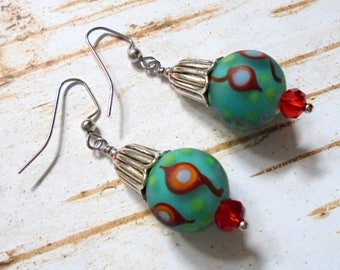 Teal Blue, Red and Silver Boho Earrings (3854)