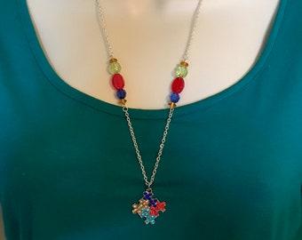 Autism awareness neckace, crystal puzzle piece charm, puzzle piece pendant