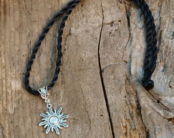 Sun Amulet Necklace -silver talisman norse shaman celtic wicca wiccan witch unisex jewelry solar power ancient magic space celestial star