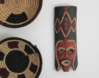 Ethnic Hand Painted Carved Wood African Mask Tribal Boho Decor