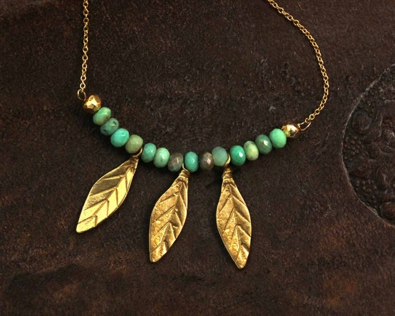 Chrysoprase Bar Necklace. Three Leafs with Chrysoprase Beaded Bar. Leaf Jewelry. Gold Fill or Sterling Silver. NM-2008