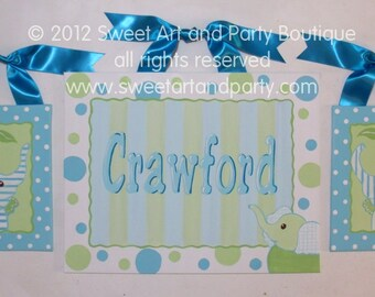 Elephant, canvas name sign, elephant nursery, elephant wall art, hand painted, jungle animals, turquoise, green, dots, stripes, aqua,