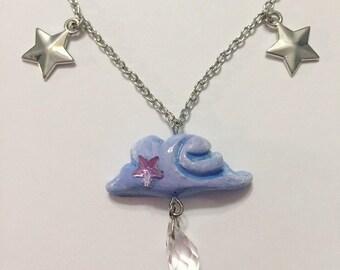 Rain Cloud Necklace, crystal drop bead, starry cloud, dream cloud jewelry, daydream , april showers