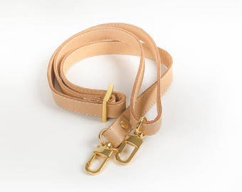"Leather Purse Strap, Louis Vuitton Replacement Strap, Double-sided Tan Leather Purse Strap, Purse Strap 1/2"" width"