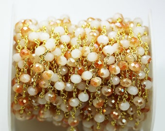 50%off 1foot 6*5mm Peach AB Crystal Class Wire Wrapped Beaded Chain ,Gold plated Brass Rosary Style Chain -WC0351