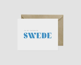 """To My Favorite Swede Scandinavian Greeting Card, 4.5"""" x 5.5"""", A2"""