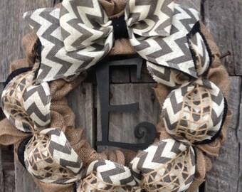 Winter Wreath, Fall Wreath, Front Door Wreath, Burlap Wreath, Black Chevron Wreath, Letter Wreath, Personalized Wedding Gift