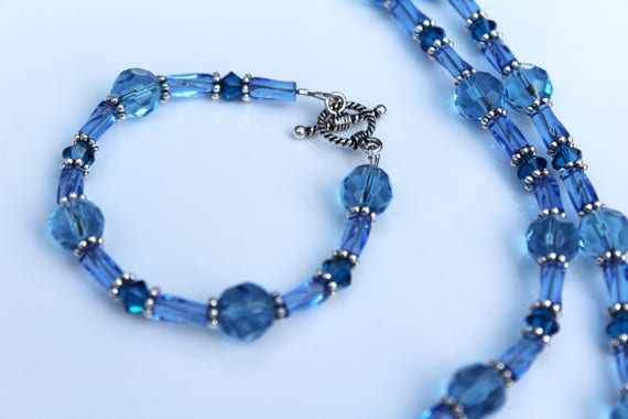 Blue Bead Necklace Set, Blue Matching Necklace and Bracelet