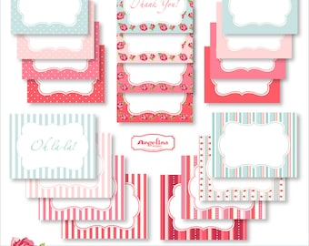 20 Digital Printable Shabby chic Frame Labels for Scrapbooking