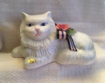 Hand Painted Ribbon & Roses Cat, Seymour Mann Cat, White Persian Cat Figurine, Ceramic White Cat, Porcelain Cat Figurine, Cat Figurine