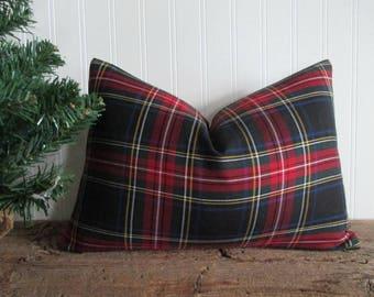 Lumbar Pillow Cover New Stewart Black Tartan Plaid Zipper
