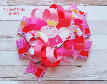 Peppa Pig Hair bow Peppa Pig Birthday Party Peppa Pig Dress Peppa Pig Outfit Peppa Pig Party Loopy Hair Bow Peppa Pig loopy bow Pink Bow