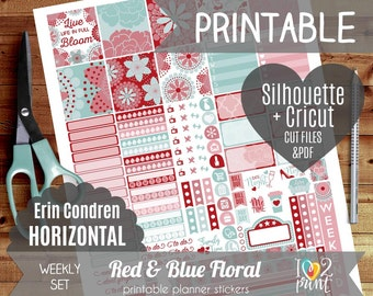 Red and Blue Weekly Printable Planner Stickers, Erin Condren Horizontal, Weekly Planner Stickers, Red and Blue Stickers  - Cut files
