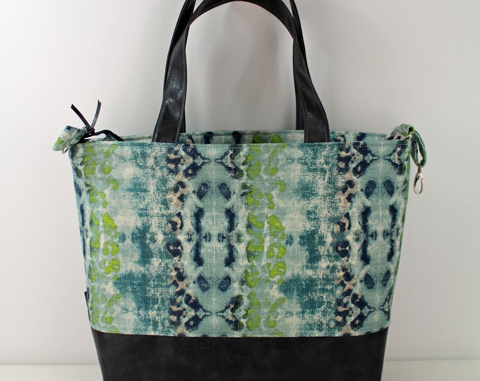Extra Large Lulu Tote Overnight  Diaper Bag Ocean Waters and PU Gray Leather - READY to SHIP Zipper Closure
