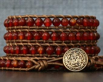 wrap bracelet- red orange carnelian on bronze leather- beaded leather ladder bracelet - boho western jewelry - mens or womens