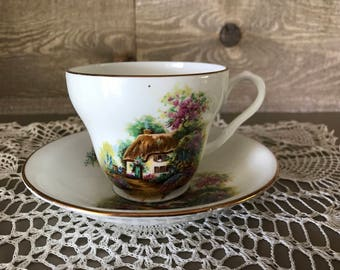 Vintage Melba Bone China Tea Cup and Saucer Country Cottage