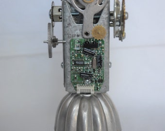 Girl BOT Assemblage Sculpture Robot Junk Art
