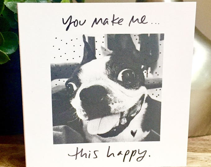 You Make Me So Happy Card, One Year Anniversary Card, Paper Anniversary, Card for Husband, 365 days, 1st wedding anniversary, smile so big