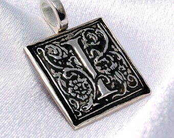 CLEARANCE - I is for Interesting - Donatienne - recycled silver initial pendant