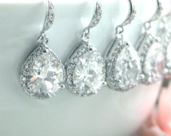 10% OFF - Set of 4, Four Pairs Wedding Earrings. Large Teardrop Cubic Zirconia White Crystal Earrings. 4 Bridesmaids Gift.