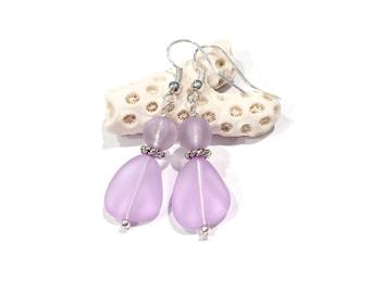 Purple Sea Glass Earrings, Purple Beach Earrings, Sea Glass Jewelry Beach Glass Jewelry Beach Jewelry Beach Glass Earrings Beach Lovers Gift