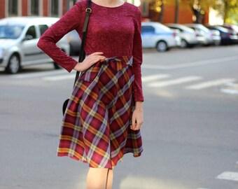Silk Woolen Dress Ruby