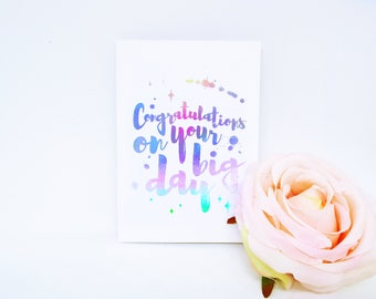Congratulations Wedding Greeting Card. Holographic Foil Lettered Personalised Card. Well Done, Graduation, Passing your Exams, College.