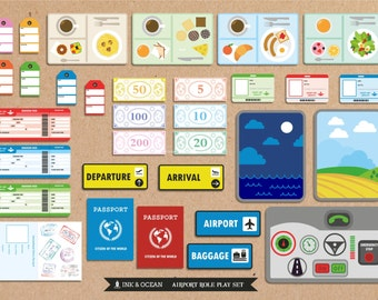 Pretend play bumper Printable Airline Activity role play set for class, school or home school.