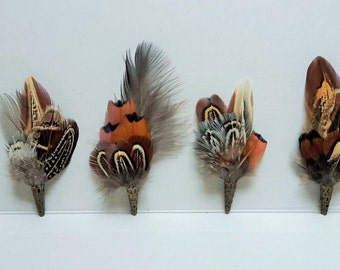 Pheasant feather brooch, hat lapel pin, wedding buttonhole, Country wear. boxed. free shipping