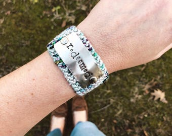 Christian Gift for Her, Metal Stamped Redeemed Bracelet, Religious Jewelry, Scripture Bracelet, Colorful Knit Bracelet