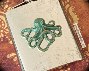 New Steampunk Flask Rustic Green Octopus Large Flask Holds 8 oz Vintage Style Gothic Victorian Nautical Steampunk Hip Flask Cosmic Firefly