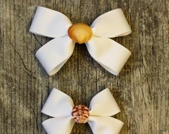 White Seashell Hair Bow