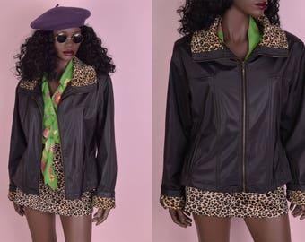 90s Fuzzy Leopard Print Trim Jacket/ Medium/ 1990s