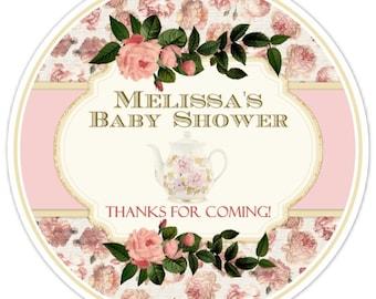 Vintage Rose Baby Shower Stickers, Vintage Tea Baby Shower Labels, Roses and Vintage Tea Pot Shower