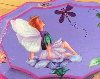 Purple Fairies Wooden Plaque