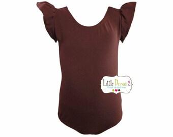 BROWN LEOTARD (Child) Flutter/Ruffle Sleeve Leotard