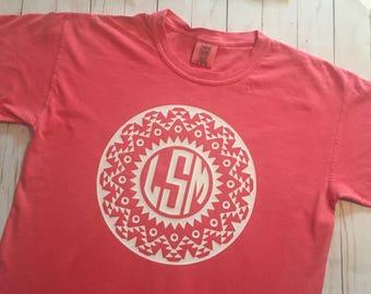 Aztec Block Monogram - Comfort Color T-Shirt