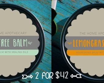SALE! (1)  Lemongrass Balm + (1) Tea Tree Balm = (2) 8oz tins for 42